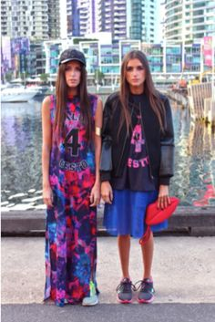 Jess and Stef from How Two Live in the Finders Keepers 'Blackout Bomber' (Black) from Dreamstate, 'Oblivion T-Shirt' (Navy/Rose Print Dark) and 'We Are Nowhere Maxi' (Rose Print Dark) from The Upside. COMING SOON.