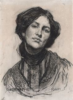 Thea Proctor by George Lambert 1905 Charcoal