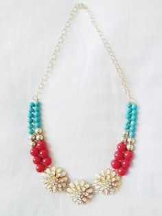 Jewelry By Andie B. Red, White, and Blue Floral Patriotic Statement Necklace now available on Etsy!