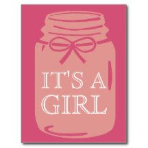 Any Color Mason Jar It's a Girl Announcement Postcard