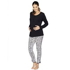 Angel Maternity Womens Nursing Sleep Wear PJ Set L Black White