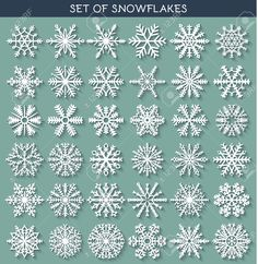 Illustration of Set 36 white different snowflakes of handmade with long shadow. New Year's symbols. Snowflakes for design. Snowflake Sketch vector art, clipart and stock vectors. Crochet Christmas Ornaments, Felt Christmas, Christmas Crafts, Xmas, Christmas Icons, Stampin Up Christmas, New Year Symbols, Fun Crafts, Paper Crafts