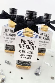 Take a Shot We Tied the Knot Favor Tags. Personalized wedding favor tags sized t… Take a Shot We Tied Elegant Wedding Favors, Wedding Favors Cheap, Beach Wedding Favors, Personalized Wedding Favors, Wedding Favor Tags, Personalized Tags, Wedding Invitations, Wedding Bottles, Wedding Cups