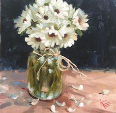 "Daily Paintworks - ""Daisies in Mason jar"" - Original Fine Art for Sale - © Krista Eaton"