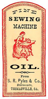 Vintage sewing machine label