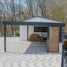 Garage and Carport Metal Barn Homes, Metal Building Homes, Pole Barn Homes, Building A House, Carport Tent, Carport Garage, Diy Outdoor Kitchen, Outdoor Decor, Carport Modern