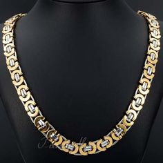 Gold Silver Tone Flat Byzantine Men's Chain Stainless Steel Necklace  Customize Size: 11 mm, 18-36 inch