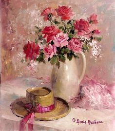 Pink Roses and Hat Print setting on a by DessieFullTimeArtist  I LOVE the way these roses have been painted!