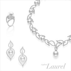 The three dimensional designs of Mikimoto's Laurel collection evokes the wispy movement and undulating lines of leaves.