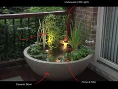 A waterfall and pond for a very small garden or a corner of a garden.
