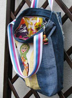 Matryoshka  Katya  bag  Jeans with handmade embroiderry by Vvesna,