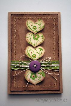handmade card from little things: One little heart ... luv this!! .... decorative machine sewing border ... kraft paper crumpled and inked to look like leather ... sweet hearts stacked in a column ... from Russian card artist ...