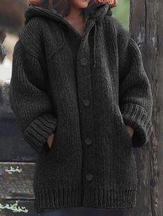 Hooded Sweater, Sweater Coats, Long Sleeve Sweater, Hooded Coats, Plus Size Outerwear, Plus Size Cardigans, Cardigan En Maille, Sweater Cardigan, Chunky Cardigan