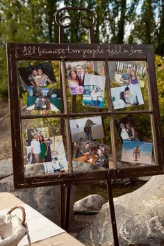 photos within the old window frame for wedding decoration ideas