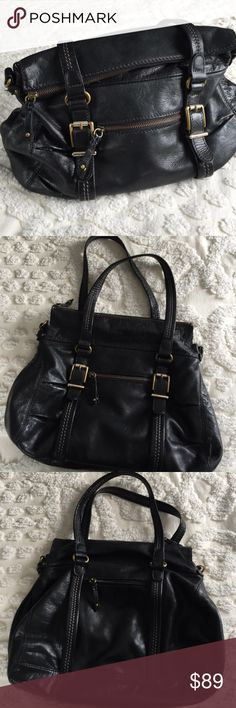 """The Sak black leather shoulder bag The Sak """"Silverlake"""" bag, softest supple leather, large and roomy with inside zip pocket, and 2 slip pockets plus zip pockets on each outer side. Gold hardware. Clean inside and out, no spots or signs of wear. 16.5"""" at widest point, 12"""" high, 4"""" deep. Zipper closure and option to fold top over to carry. Crossbody strap is missing. If I find it I will update the listing. Very loved and very good condition. The Sak Bags Shoulder Bags"""