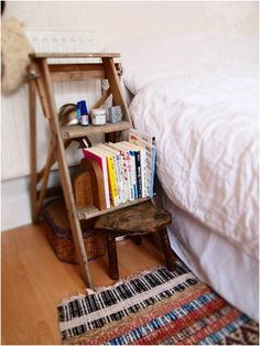 Step Ladder as Bedside Table