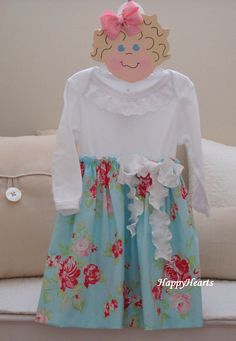 Onesie Dress  Blue Pink Eyelet  Double Ruffle by HappyHearts, $32.00