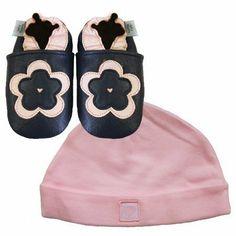 Neue weiche Leder Babyschuhe Marineblaue Blumen & rosa Hut Geschenkset 0-6…