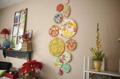 DIY that I must try... embroidery hoops, fabric, and glue...instant wall art. perfect!
