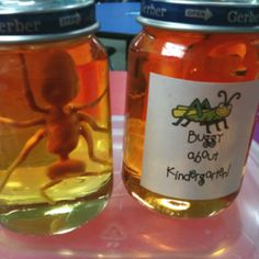 Buggy About Kindergarten!  End of year gift my students loved!  Babyfood jars + light corn syrup+ food coloring + plastic bugs= super easy. I added a label with cute clip art. Could also be fun as a discovery center. Students have to look at bug, draw picture, then write about the creature.