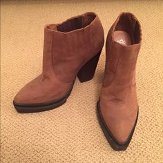 Jeffrey Campbell Brown Suede Booties WORN ONCE!! These brown/tan suede booties with a wooden heel are the perfect touch to any outfit. They have a slightly pointed toe with black lining. Very flattering! Jeffrey Campbell Shoes Ankle Boots & Booties