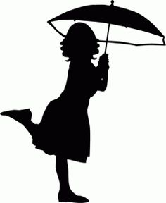 Silhouette Online Store - View Design #56452: girl with umbrella silhouette