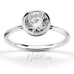 Bezel Set Round Center Solitaire Engagement Ring
