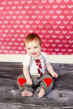 Valentines Day Boys Tie Onesie or Shirt with Suspenders - Photo Prop, Baby Boy Gift, Valentine. $19.00, via Etsy.
