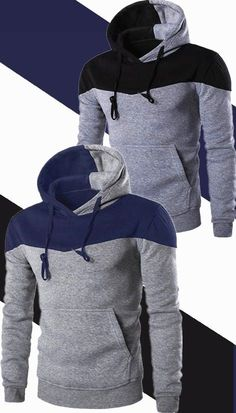 $13.50 Classic Color Block Front Pocket Hooded Long Sleeves Hoodie For Men