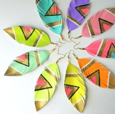 Beautiful feather earrings. Love the colors