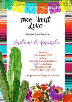 """Fiesta Couples Shower Invitation Mexican. Size: 5"""" x 7"""" Make custom invitations and announcements for every special occasion! Choose from twelve unique paper types, two printing options and six shape options to design a card that's perfect for you. Size: 5"""" x 7"""" (portrait) or 7"""" x 5"""" (landscape) Standard white envelope included Add photos and text to both sides of this flat card at no extra charge Use the """"Customize it!"""" CLICK IMAGE FOR MORE DETAILS. Couples Wedding Shower Invitations, Bachelor Party Invitations, 30th Birthday Invitations, Bachelorette Party Invitations, Custom Invitations, Mexican Fiesta Birthday Party, Couple Shower, Special Occasion, Envelope"""
