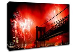 Red New York City Canvas Wall Art | architecture new york city brooklyn bridge fireworks red canvas art