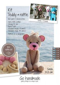 Smilla - beige og rosa teddy med rangle | Garnkurven Wooden Rings, Wooden Beads, Teddy Bear, Beige, Toys, Unique, Pattern, Handmade, Animals