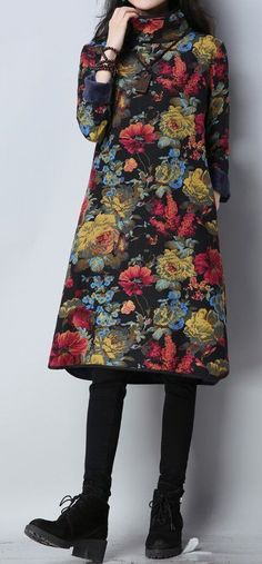 New women loose fit plus over size flower ethnic pocket dress maxi tunic robe #unbranded #Maxi #Casual