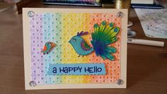 Card by Claire Morrison: Hero Arts ~ A Happy Hello card, using the peacock and little bird. Embossed polka dots and blended gelatos.