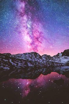 Garnet Lake, Sierra Nevada Mountains, California - night sky lights