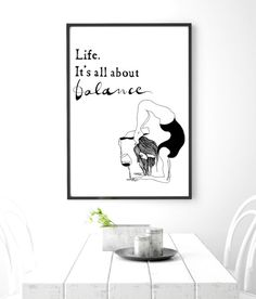 Funny yoga print, original yoga art, unique yoga gift, black and white, modern…