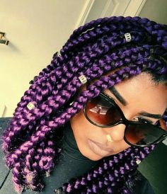 Purple braids are one of the many hairstyle trends that have become popular in recent years. Let's take a look at 35 stylish ways you can rock purple braids. Bob Box Braids Styles, Box Braids Bob, Short Box Braids, Blonde Box Braids, Box Braids Styling, Box Braids Hairstyles, Braid Styles, Curly Hair Styles, Cool Hairstyles