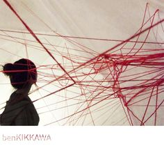 ben KIKKAWA: Visualization of connection with others. The red string was done by participants at the installation. The more people comes the more red it gets. The more string there is the more dimension occurred. 1D, 2D, 3D… space. A participatory space design installation. This installation was held for a week at Zushi – Kanagawa – Japan