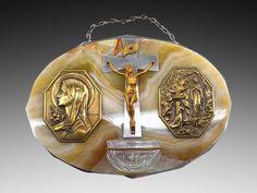 French Art Deco Lourdes Virgin Crucifix Water Font 1930 - http://www.artdecoceramicglasslight.com/categories/religion/ref-12005---french-art-deco-lourdes-virgin-cricifix-water-font-1930