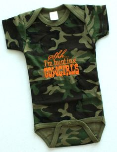 Shh I'm Hunting Cowgirls Embroidered Onesie by AllThatSassBoutique, $18.00
