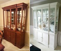 How I painted a china cabinet and changed out the handles to refresh the look and match the rest of the furniture