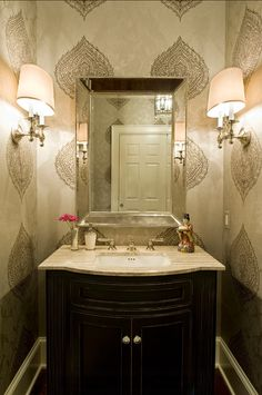 Powder Room Wallpaper Ideas. The wallpaper in this powder room can be found on the post. Click to see it. #Wallpaper #DesignIdeas #Interiors