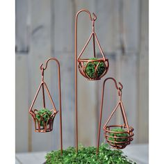 Mini Garden Hanging Baskets w/Hook, 3 Assorted