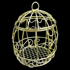 Gold Metal Wire Bird's Cage Birdcage 1/6 Scale Barbie Doll's Dollhouse Miniature #Unbranded