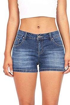 S-L Womens Distressed Elastic Waist   Denim Drawstring Waist Roll Up Shorts