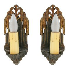 Whimsical Pair Art Deco Wall Sconces | From a unique collection of antique and modern wall lights and sconces at http://www.1stdibs.com/furniture/lighting/sconces-wall-lights/