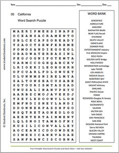 California Word Search Puzzle - Free to print (PDF file). Covers the state's geography, landmarks, and history. For grades 4 and up.