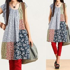 Loose Fitting Cotton Shirt Blouse Dress for Women by deboy2000, $65.99