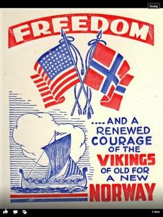 """NORWAY:  WWII poster... """"Freedom for Norway!"""""""